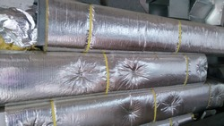 Air condition ducting work for fixing.Insulated duct.HVAC system on a building site.Aluminum fabricated air flow duct.