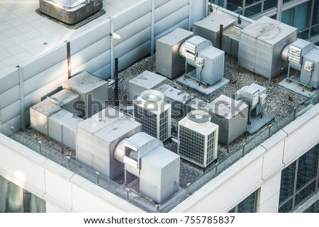 Air condition system on the building roof top