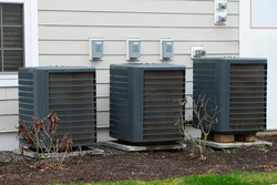 air conditioner near the house unit compressor cool fan pump