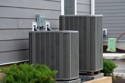 air conditioner near the house unit compressor cool fan system cooler
