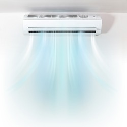 Air conditioner on wall background