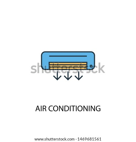 air conditioning concept 2 colored line icon. Simple yellow and blue element illustration. air conditioning concept outline symbol design