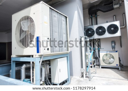 Air conditioning system inside the building.