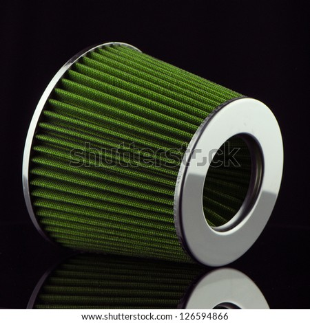 Air cone filter on black background. Vehicle Modification Accessories.
