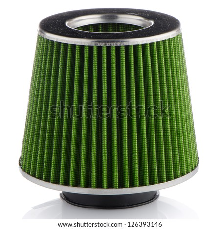 Air cone filter on white background. Vehicle Modification Accessories.