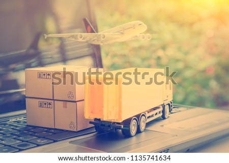 Air courier / freight forwarder or shipping service concept :  Boxes, a truck, white plane flies over a laptop, depicts customers order things from retailer sites via the internet and ship worldwide. #1135741634