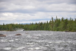 Air-cushioned craft at the wild Karelian river