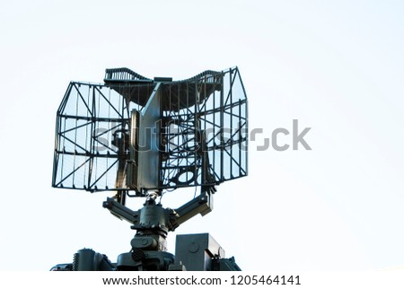 Air defense radar of military mobile mighty rocket launcher system on sky backgroud