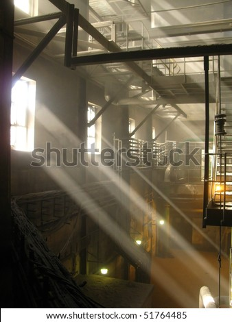 air dust in an old industrial plant