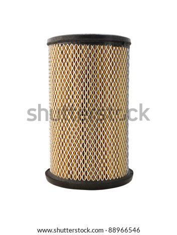 Air filter, auto spare part isolated on white background