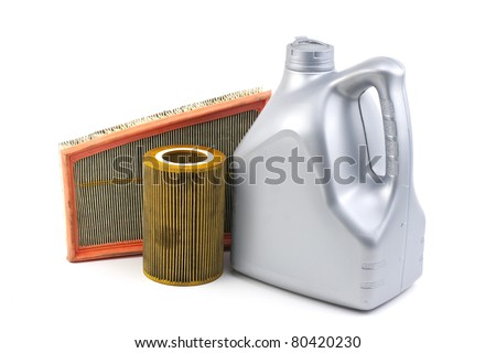 air filters and oil bottle