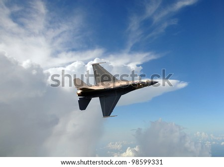 Air Force jet fighter at high altitude