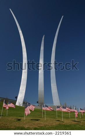 Air Force Memorial in Arlington Virginia on a clear Fall day