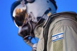 Air force pilot flight suit uniform with Israel flag patch. Military jet aircraft pilot