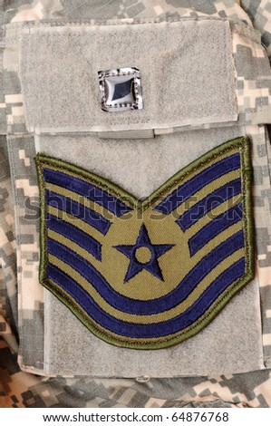 Air Force rank patch on ACU uniform