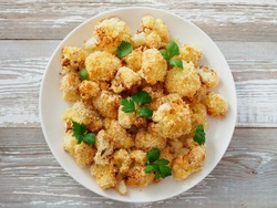 Air fryer cauliflower top view