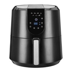 Air Fryer Isolated. Black  Electric Deep Fryer Front View. Silver Modern Domestic Household & Small Kitchen Appliances. 1800 Watts Convection Oven & 5.2 Liter Capacity Oilless Cooker