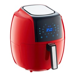 Air Fryer Isolated. Red Electric Deep Fryer Side View. Modern AirFryer Front View. Domestic Household & Small Kitchen Appliances. 1800 Watts Convection Oven & 5.2 Liter Capacity Oilless Cooker