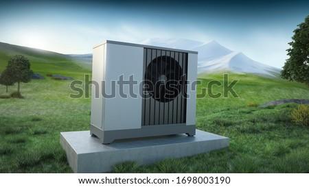Air heat pump and landscape mountain - ecology concept, 3D illustration  Stock photo ©