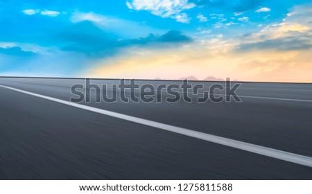Air highway asphalt road and beautiful sky scenery #1275811588