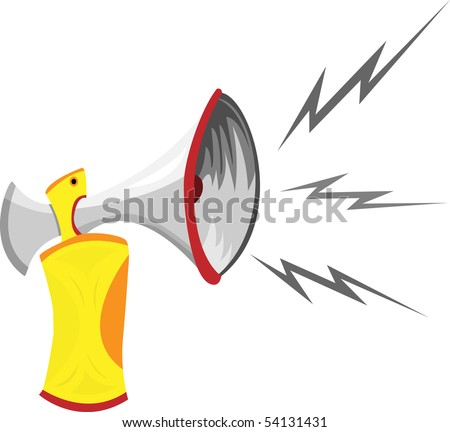 Air Horn Cartoon Isolated on White.