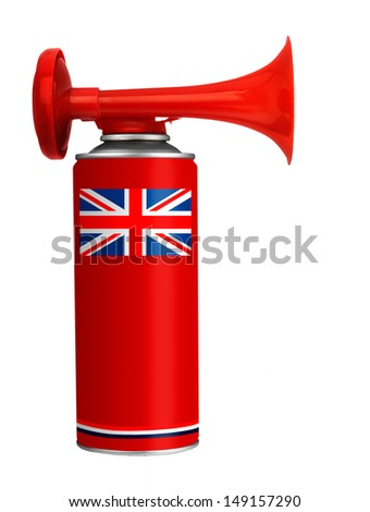 Air horn for English football soccer fans etc - isolated