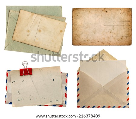 Collection of old envelopes with label, retro postcards for