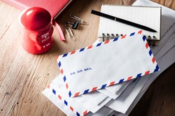 air mail envelope on the wood table