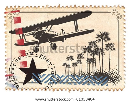 air mail stamp with plane and palms
