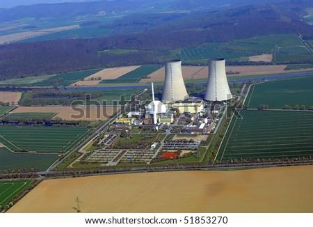 Air photo of a nuclear power plant