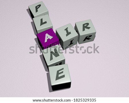 AIR PLANE crossword by cubic dice letters, 3D illustration Stock photo ©