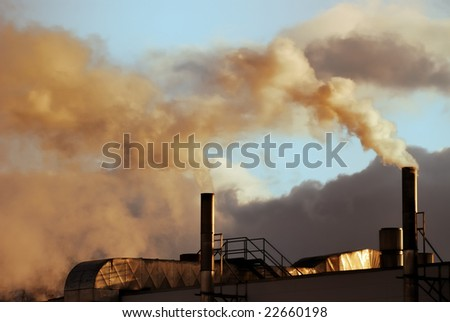 Air pollution from a factory