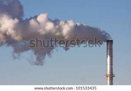 Air Pollution from a smoke stack of a industrial plant