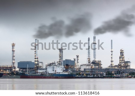 Air Pollution Smoke Over Power Plant Near The River