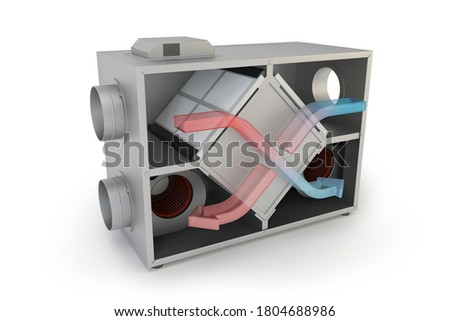 Air Recuperator with arrows. Filtration and ventilation system, 3D illustration Stockfoto ©