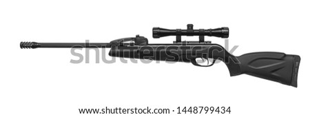 Air rifle with a telescopic sight isolate on a white background. Pneumatic gun. Sports air rifle for accurate aiming shooting. #1448799434