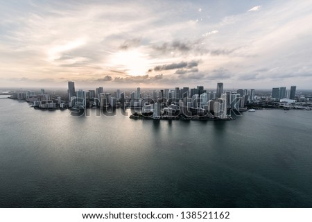 Air shot of buildings in the Miami coast