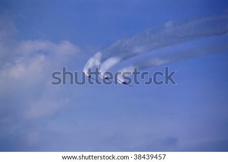Air-show at Lake Michigan and formation