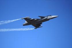 Air show on blue sky