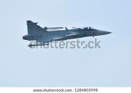 Air show on blue sky  #1284803998