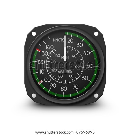 Air speed indicator of popular small helicopter (R44) - Instrument from dashboard. (raster, sRGB)