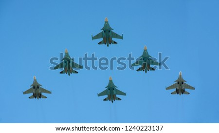 Air squadron in the blue sky