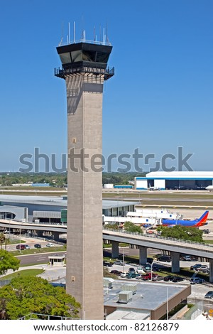 Air traffic control tower at Tampa International Airport.
