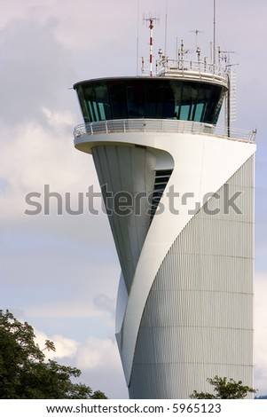 air traffic control tower in the airport of bilbao, spain
