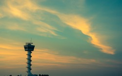 Air Traffic Control tower Sunset Sky, vintage color style