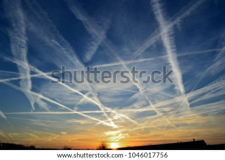 air traffic marks in the sky #1046017756