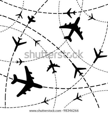 Air travel. Airplanes on their destination routes. Illustration