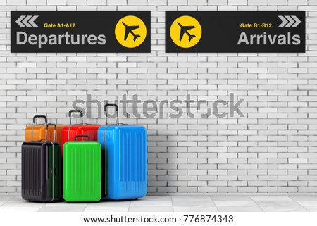 Air Travel Concept. Large Multicolour Polycarbonate Suitcases near Airport Departures and Arrivals Information Panel in front of Brick Wall. 3d Rendering