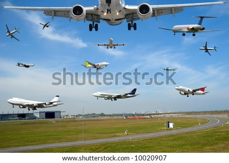 Air travel - Plane traffic in airport at rush hour