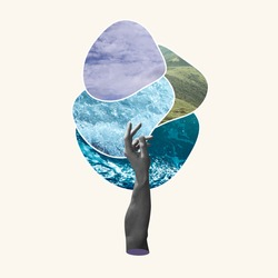 Air, water and land. Hand aesthetic on pastel background, artwork. Concept of environment, climate, symbol of four elements of nature. Idea, inspiration and minimalism. Copy space for ad.